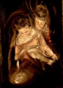 """""""Donna con bambino""""cm 40x60"""